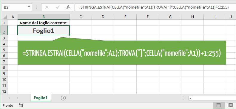 Come ottenere il nome del foglio in una cella