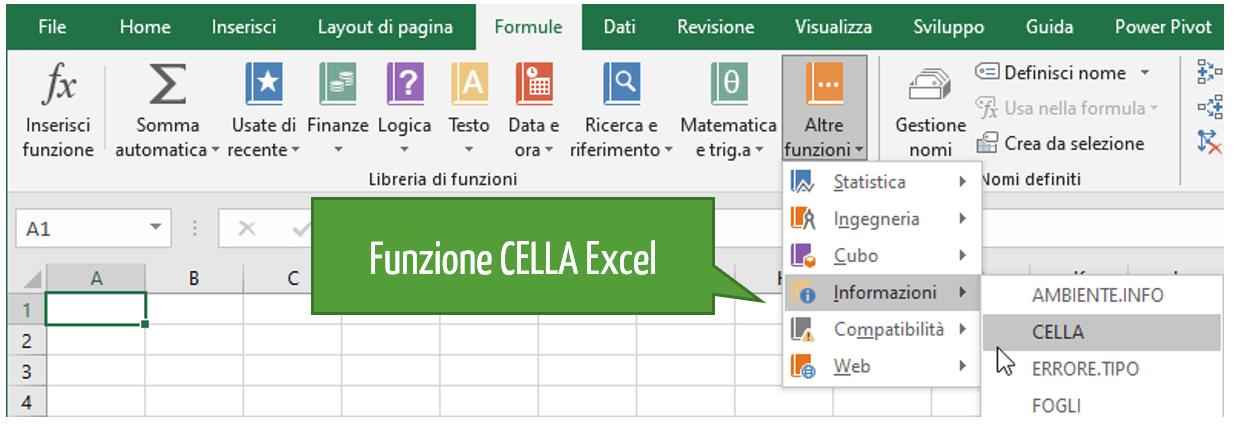 Funzioni Excel | La sintassi della funzione CELLA Excel