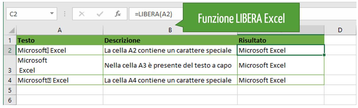 Caratteri speciali Excel: funzione LIBERA