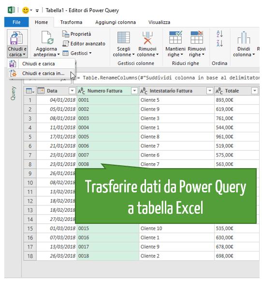 convertitore pdf a excel | trasformare file Excel in PDF | trasferire dati da Power Query a tabella Excel