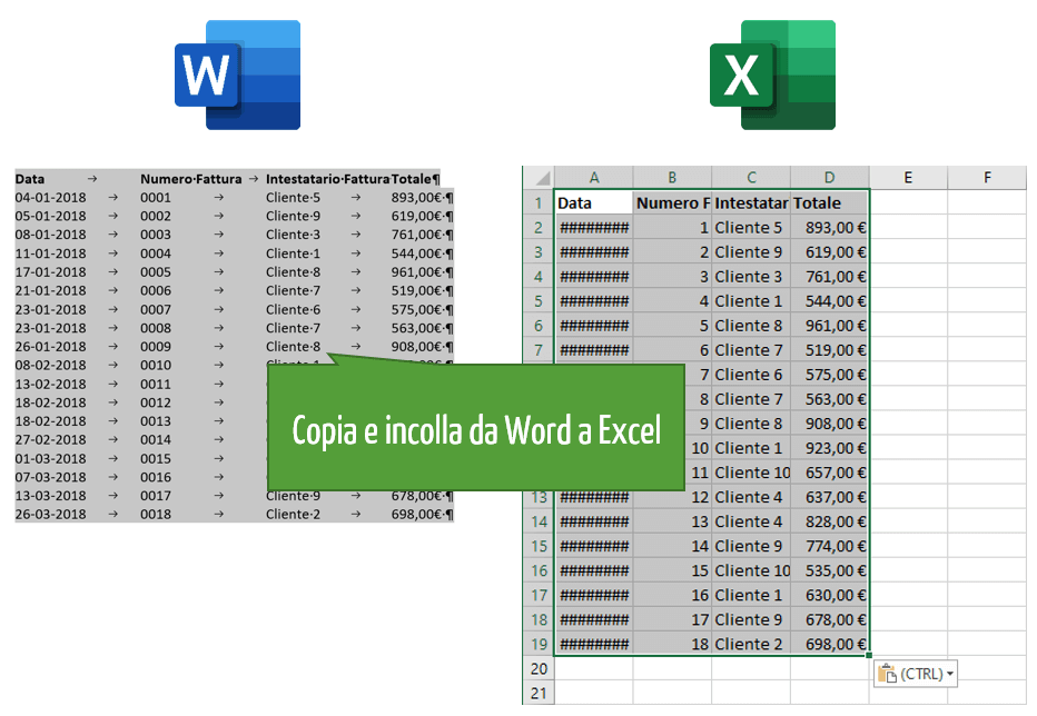 da Word a Excel | Copia Incolla Word Excel | convertire pdf xls
