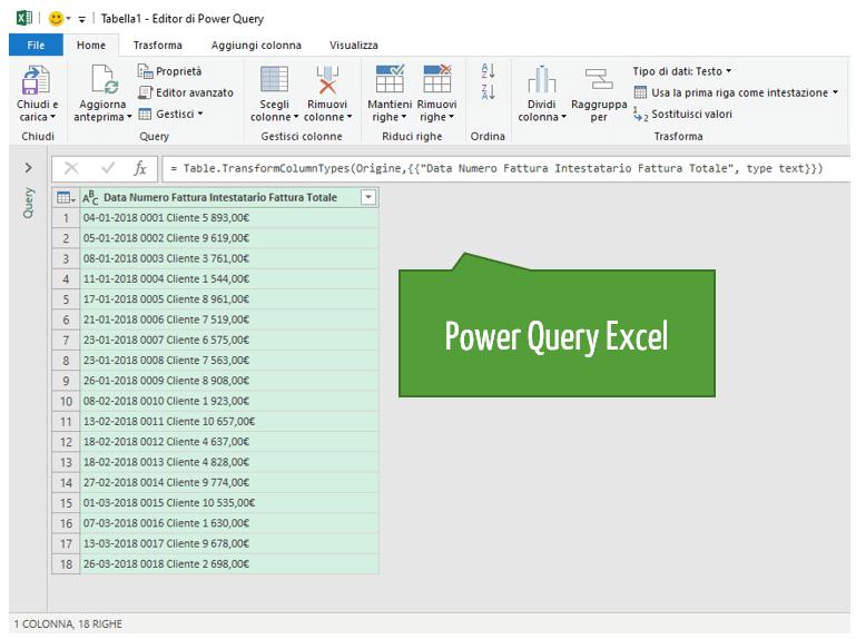 convertire da pdf a Excel con Power Query