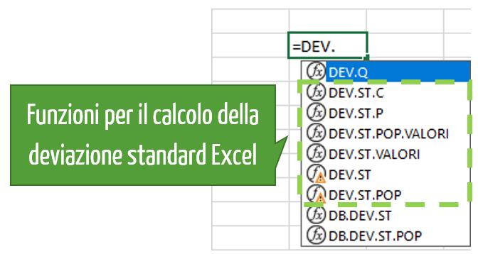 deviazione standard Excel | formula deviazione standard