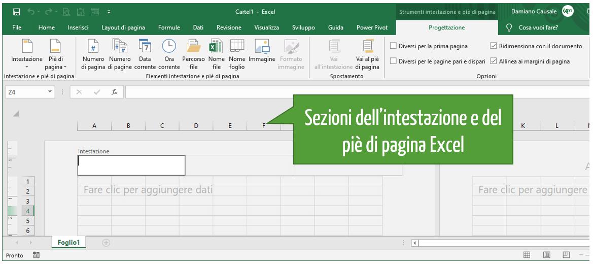 Sezioni dell'intestazione e del piè di pagina Excel