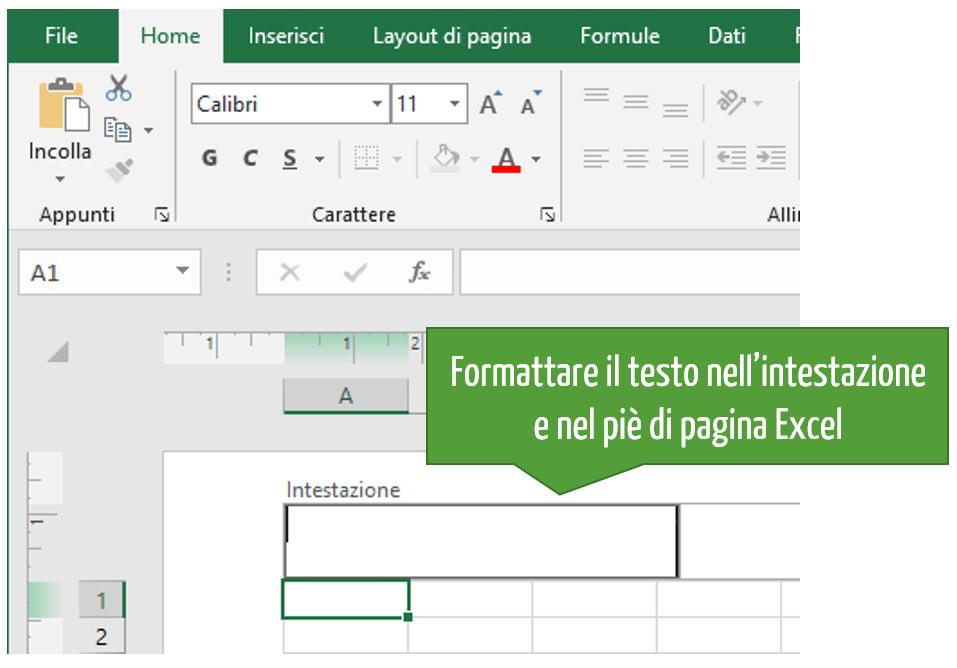 Formattare il testo nell'intestazione e nel piè di pagina Excel