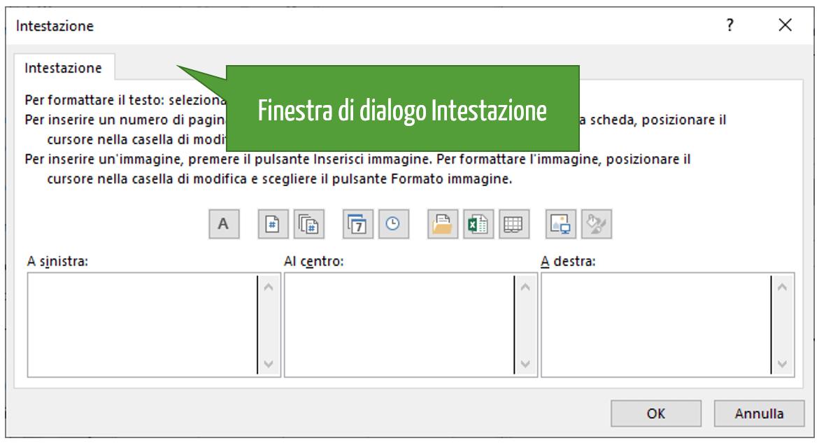 Finestra di dialogo intestazione Excel