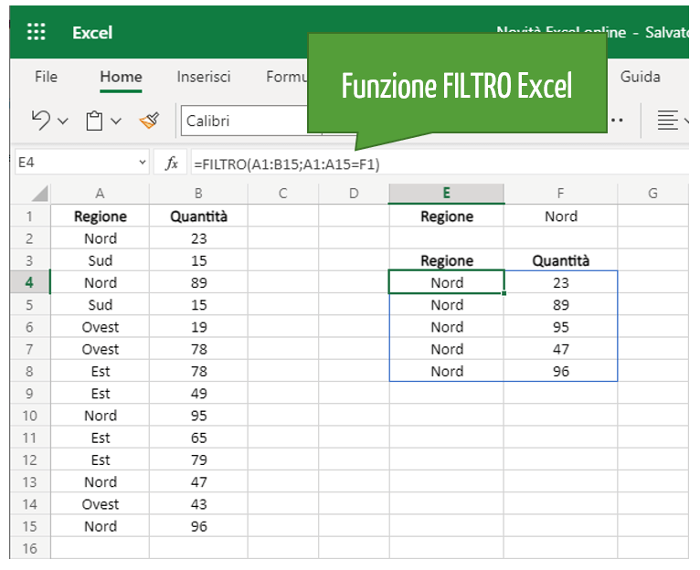 Funzione Filtro Excel | Foglio Excel | Formule e funzioni