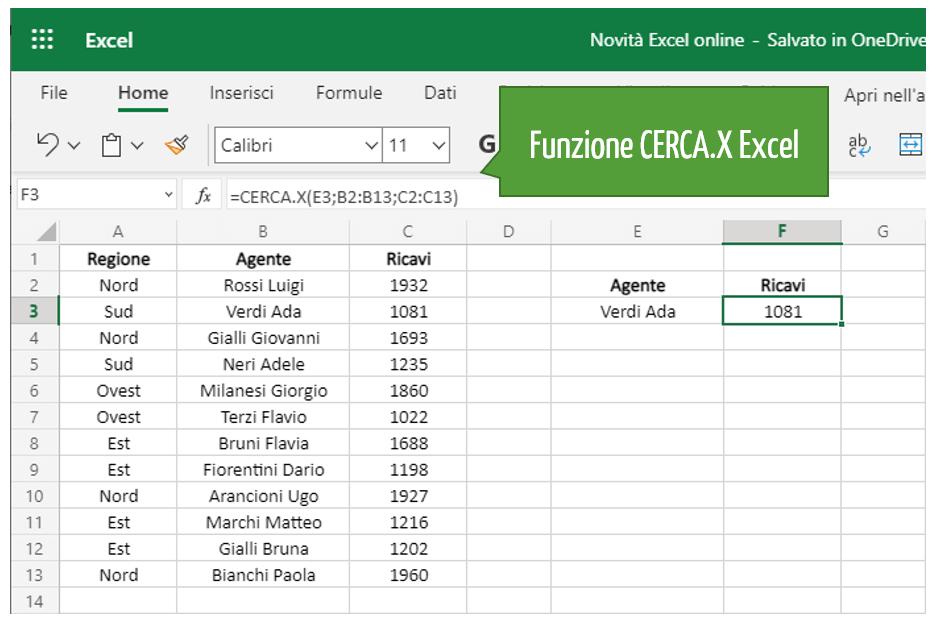 funzione di ricerca CERCA.X