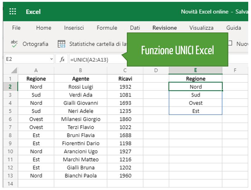 funzione UNICI Excel | Formule
