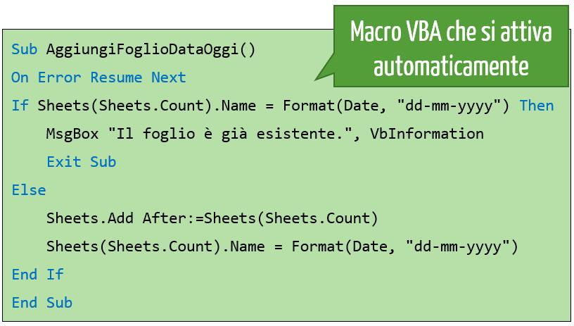 Eseguire macro Excel all'apertura del file   macro che si attiva automaticamente