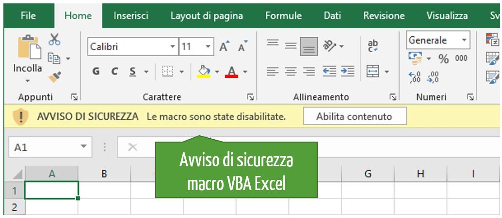Avviso sicurezza Excel macro vba