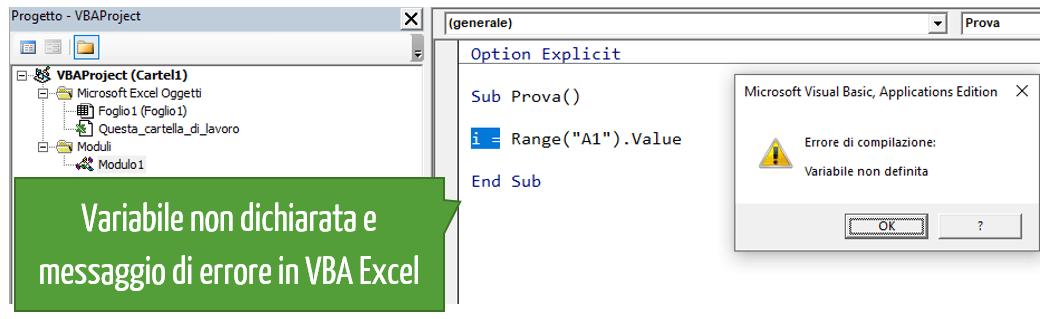 Variabile non dichiarata e messaggio di errore in VBA Excel