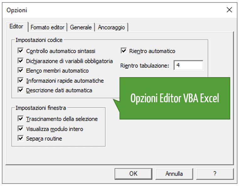 Opzioni Editor VBA Excel