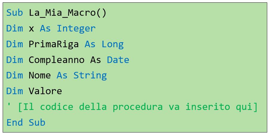 Dichiarazione variabili Excel