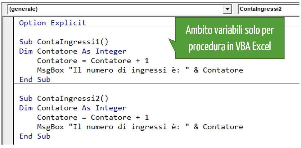 Ambito variabili Excel solo per procedura in VBA Excel