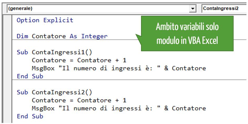 Ambito variabili Excel solo modulo in VBA Excel
