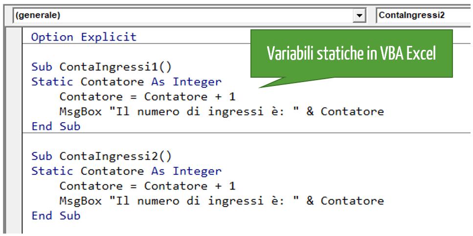 Variabili Excel statiche in VBA Excel