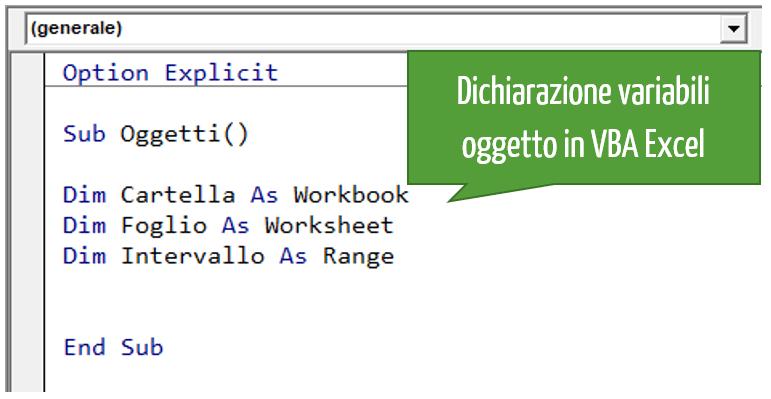 Dichiarazione variabili oggetto in VBA Excel