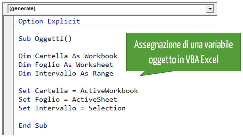 Assegnazione di una variabile oggetto in VBA Excel