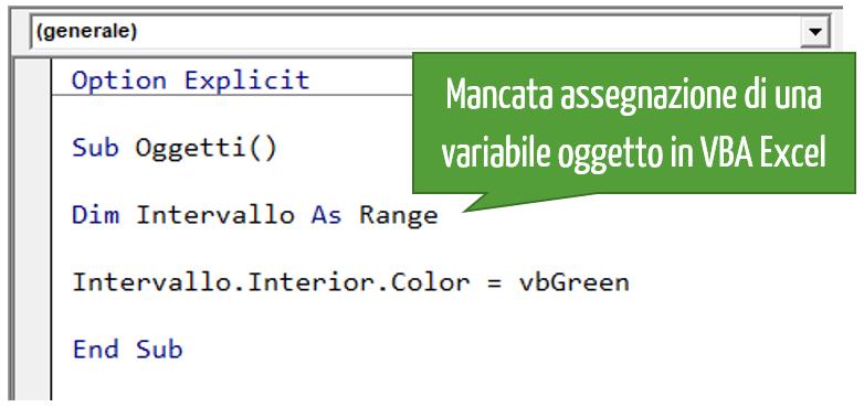 Mancata assegnazione di una variabile oggetto in VBA Excel