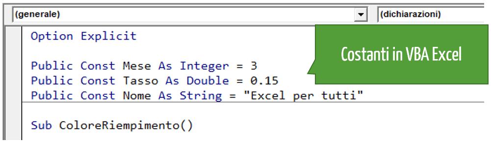 Costanti in VBA Excel