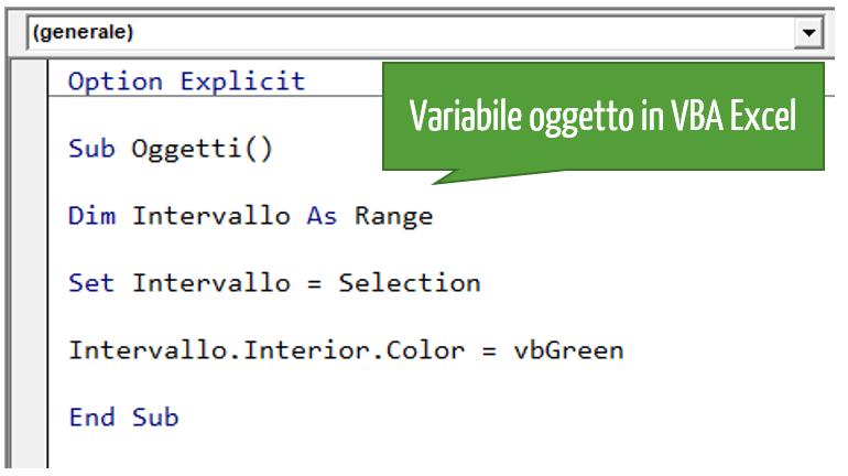 Variabile oggetto in VBA Excel