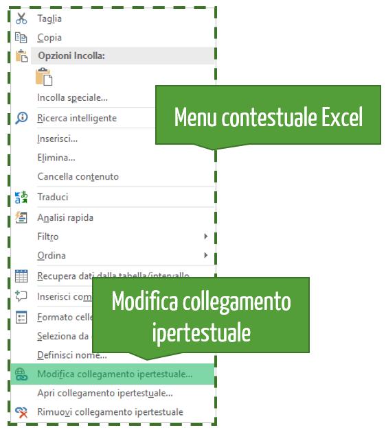 Modifica collegamento ipertestuale Excel