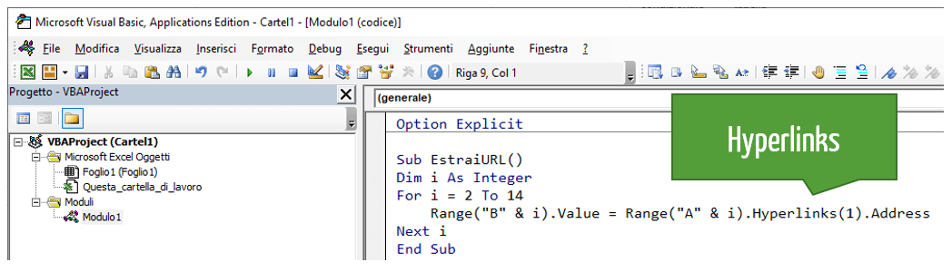 Hyperlinks VBA | Estrarre URL dal testo con hyperlink: macro VBA