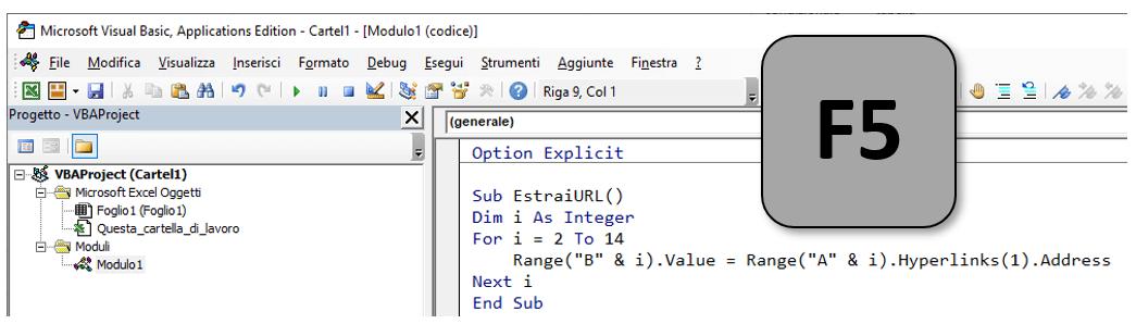 Editor Visual Basic Excel | Estrarre URL dal testo con hyperlink: macro VBA