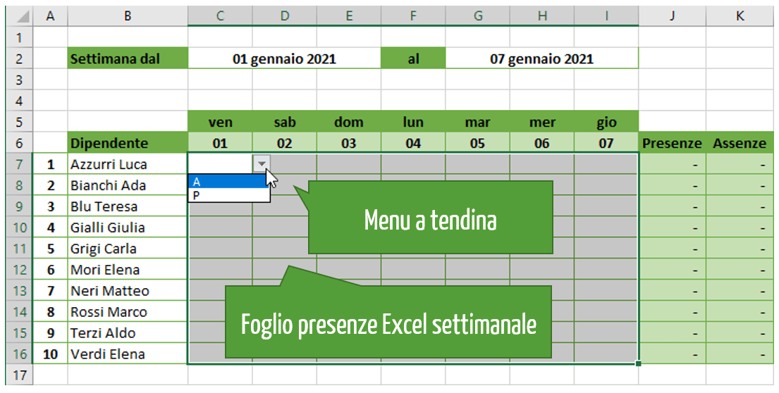foglio presenze Excel