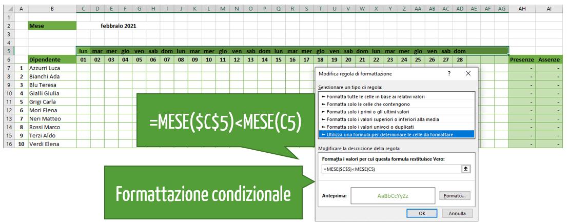 Foglio presenze mensili Excel