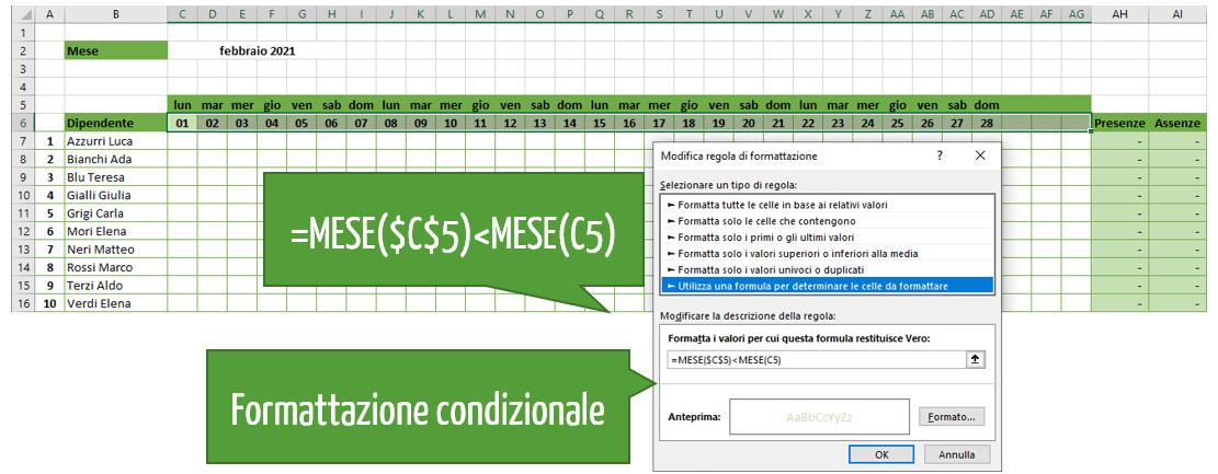 Foglio presenze mensile Excel