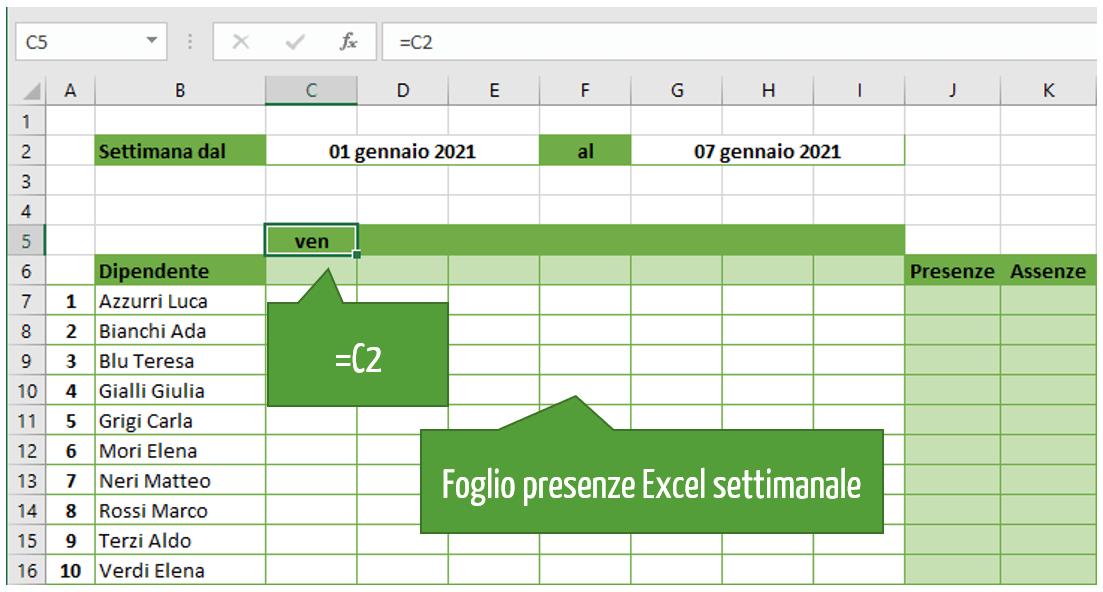 foglio presenze settimanale Excel