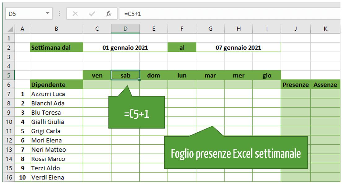 foglio presenze Excel settimanale