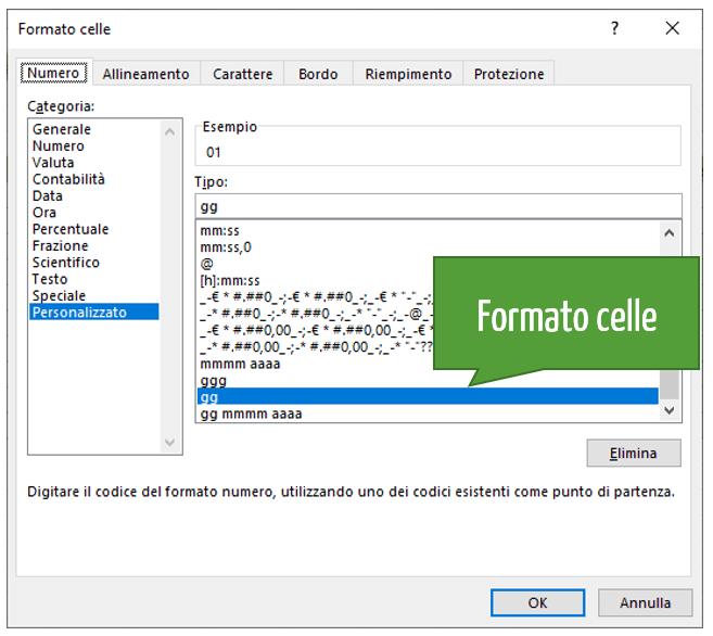 formato celle Excel