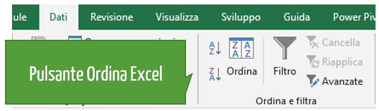 Pulsante Ordina Excel | ordinare numeri