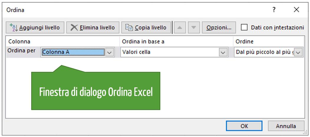 Finestra di dialogo Ordina Excel