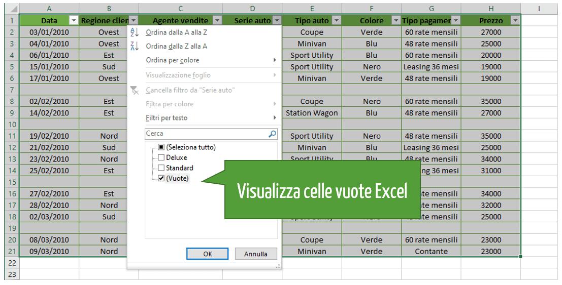 Visualizza celle vuote Excel