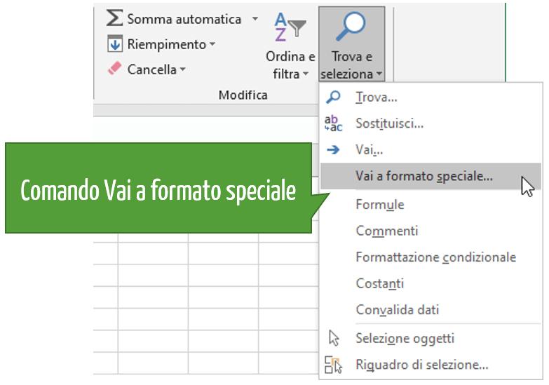 Eliminare righe Excel: il comando Vai a formato speciale