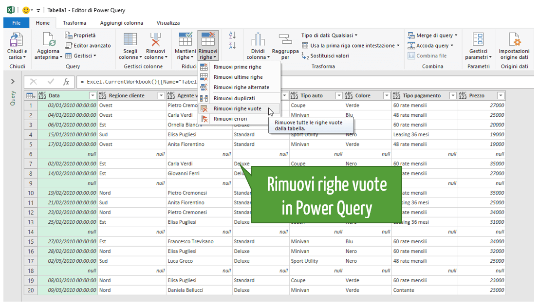 Excel eliminare righe vuote | Power Query Excel