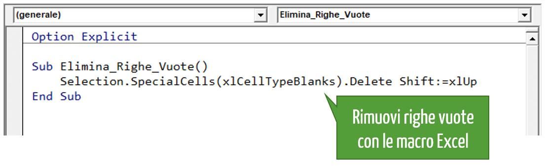 Excel eliminare righe vuote   Macro e VBA Excel