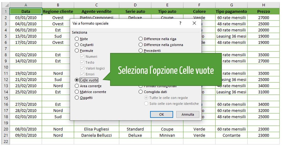 Comando Vai a formato speciale | Opzione Celle vuote Excel