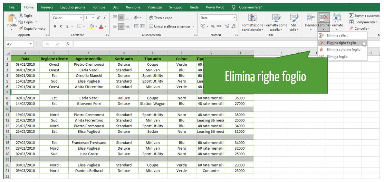 Excel eliminare righe vuote