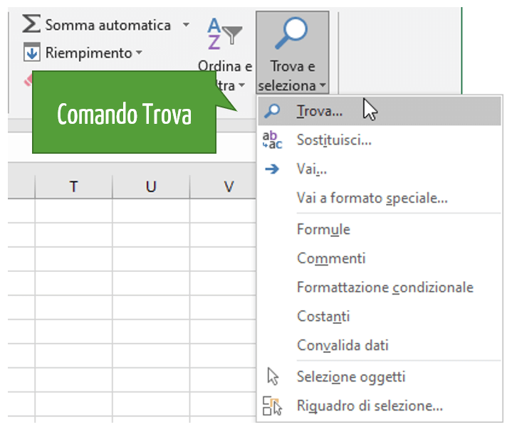 Eliminare righe vuote in Excel: il comando Trova