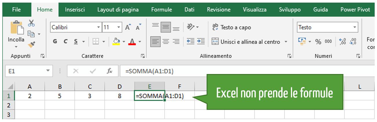 Quando Excel non prende le formule