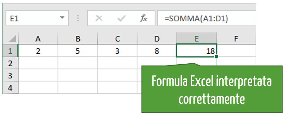 Formula Excel interpretata correttamente
