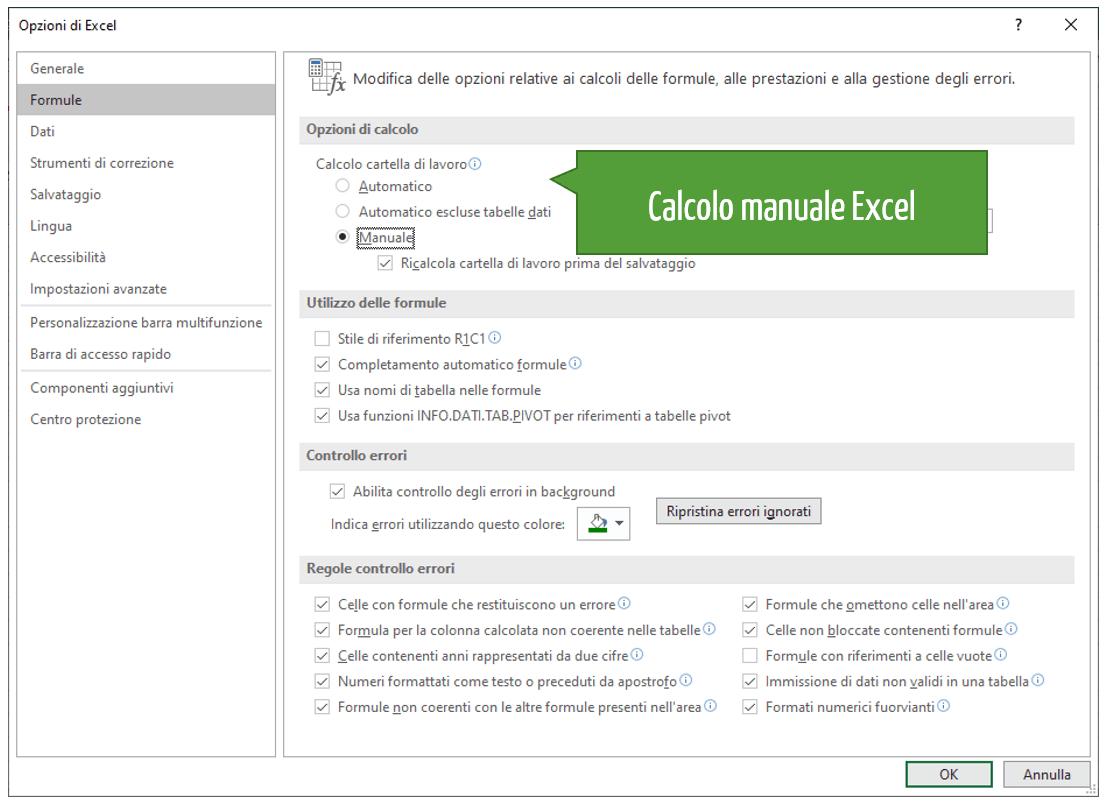 Come impostare il calcolo automatico Excel