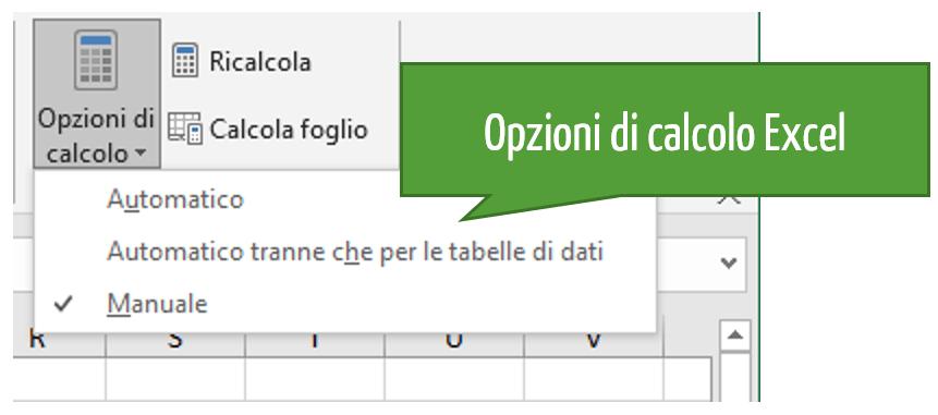 Opzioni di calcolo Excel