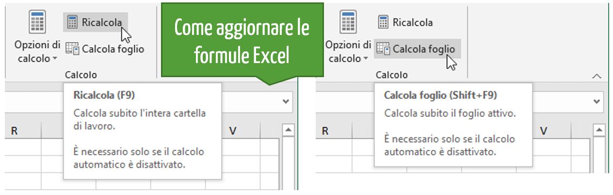 Come aggiornare formule Excel