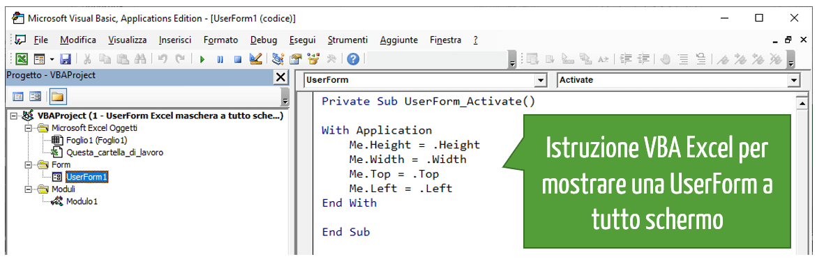 maschera inserimento dati Excel a pieno schermo
